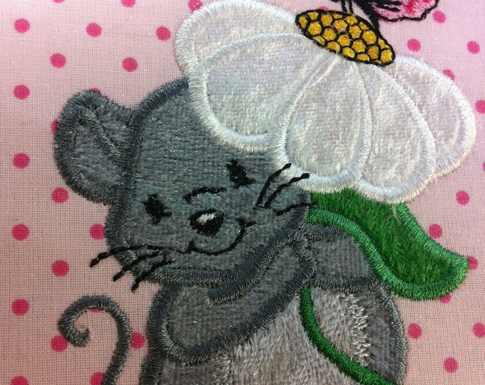 Little Mouse set with a flower INSTANT DOWNLOAD Machine Embroidery Design, add bee and Butterfly multiple sizes for  hoop 4x4, 5x7 and 6x10