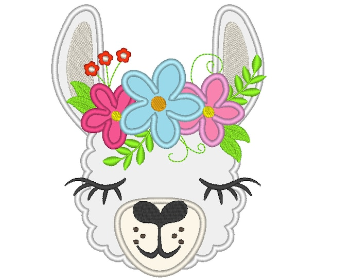 Llama or alpaca head with shabby chick roses crown applique machine embroidery designs applique embroidery llama face drama llama design