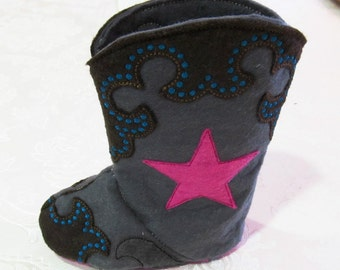 Baby Cowboy boots - Felt  In the hoop project - ultimate pattern for easy assembly - machine embroidery ITH design 5x7 INSTANT DOWNLOAD