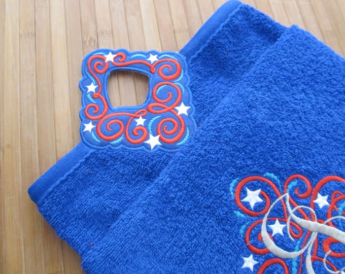 Towel hanging hole - patriotic - made to mach - machine embroidery project designs 4x4 and 5x7 - In the hoop embroidery INSTANT DOWNLOAD