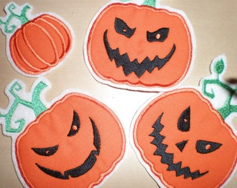 Sale Pumpkin applique designs collection, 4 assorted types - machine embroidery - for hoops 4x4, 5x7, 6x10 - Great for Halloween!