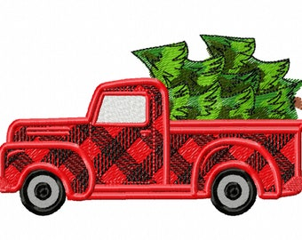 Checked plaid red truck gingham Station wagon with Christmas trees in the back Vintage machine embroidery fill stitch designs 4x4 5x7 6x10