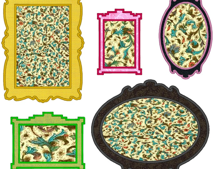 FRAMES machine embroidery applique designs- set of 5 single files for 4x4, 5x7 and 6x10 INSTANT DOWNLOAD