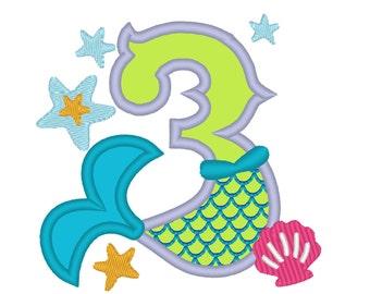 Mermaid Tail Birthday number, Mermaid number THREE 3 applique, Mermaid Kisses and starfish wishes 4x4 5x7 mermaid embroidery design
