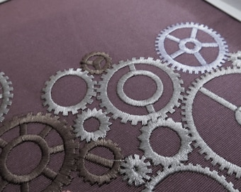 Stem punk, steampunk gears collection, gear, gear steam-punk embroidery designs, many variations