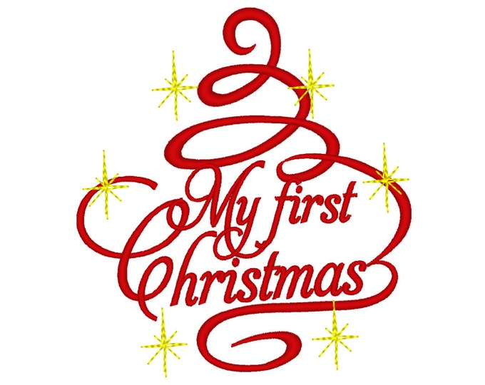 My First Christmas, Christmas tree curly swirl embroidery sparkle embroidery designs, for hoops 4x4 and 5x7 adorn silhouette, monogram style
