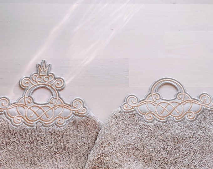 Elegant towel hanging topper hole In The Hoop machine embroidery design ITH project Towel topper, hanger