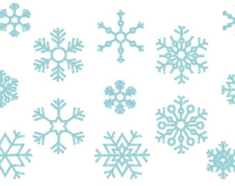 Single 9 Snowflakes, 9 types  - machine embroidery design - multiple sizes, for hoop 4x4  INSTANT DOWNLOAD