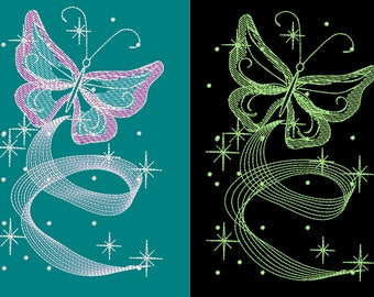 Romantic dance butterfly / Glow in the dark special designed machine embroidery / sizes 4x4 and 5x7 INSTANT DOWNLOAD