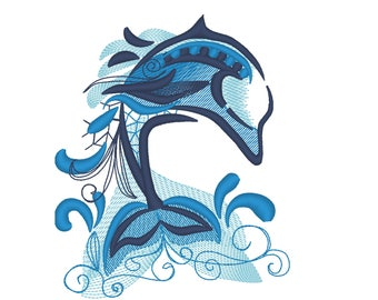 Unique and awesome dolphin tribal machine embroidery designs assorted sizes for hoops 4x4, 5x7