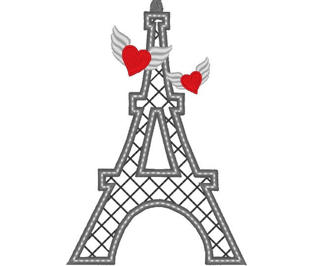 Eiffel tower winged hearts love, machine embroidery applique and fill stitch designs in assorted sizes 5, 6 and 7in INSTANT DOWNLOAD