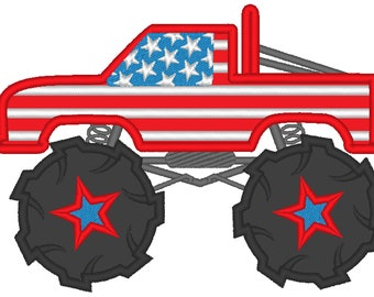 4th of July Monster truck, machine embroidery applique designs, machine embroidery design, boy applique, flag 4x4, 5x7 and 6x10