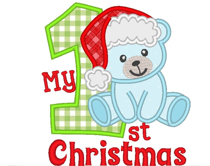 My 1st Christmas Teddy bear with  Santa hat,  Christmas Machine Embroidery applique designs, for hoops 4x4  5x7 My First Christmas