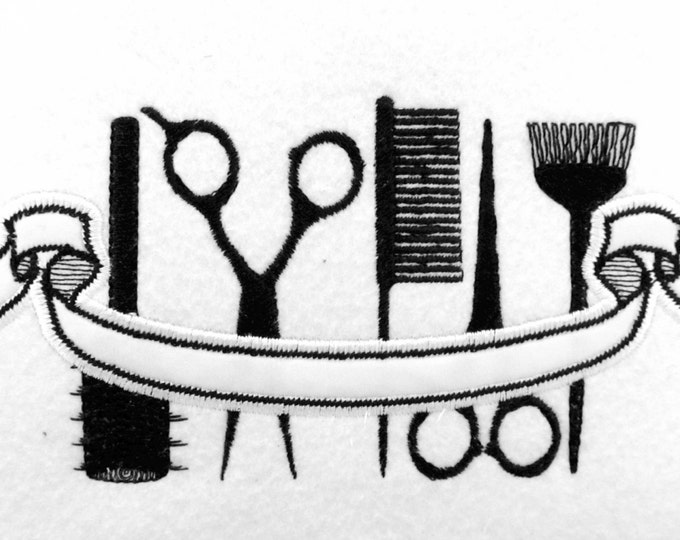 Hairdresser banner and tools embroidery applique design   4x4, 5x7, 6x10  INSTANT DOWNLOAD