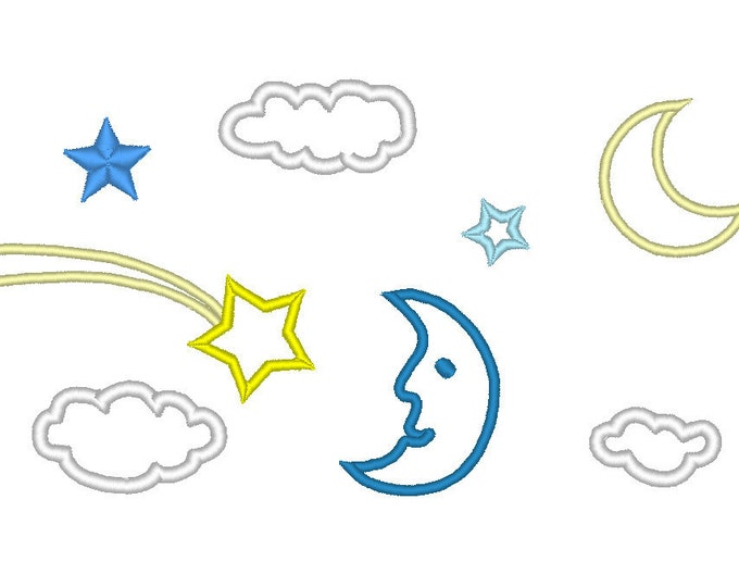 Single Starry Sky elements, moon, cloud, comet, star - machine embroidery applique designs, download 4x4, 5x7 and 6x10