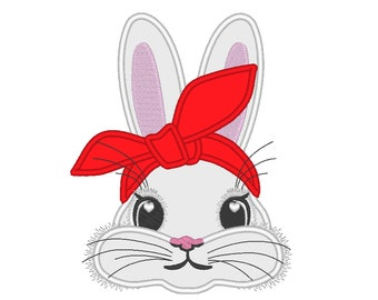 Easter Bunny face with heifer bandanna, bunny ears applique, bunny face machine embroidery designs 4x4 5x7 6x10
