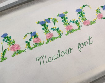 Meadow flowers font with uppercase and lower case letters, monogram floral Font machine embroidery designs, BX included INSSTANT DOWNLOAD