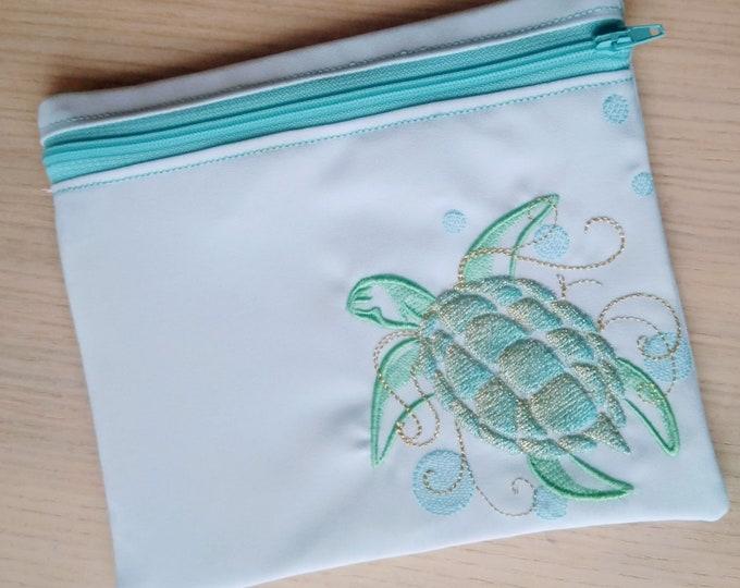 Sea turtle Envelope ITH, Pocket, ITH, bag, zip bag, In The Hoop Machine Embroidery designs In-The-Hoop 5x7 6x10 8x8 8x12