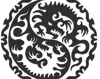 Taoist Taoism or Daoism Yin & Yang Symbol Black with Dragons machine embroidery designs 4x4, 5x7 and 6x10