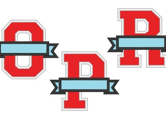 Collegiate Varsity Split Letters with banner embroidery applique designs, only one any letter or number to choose from the set