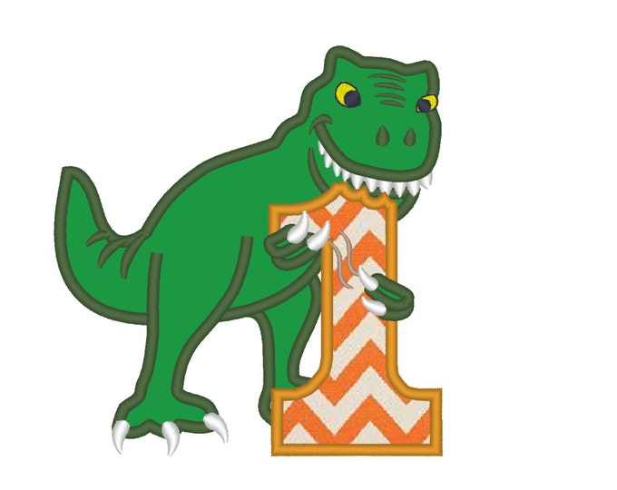 T-rex dinosaur Birthday number one 1 machine embroidery Birtday outfit designs - assorted sizes, for hoops 4x4, 5x7, 6x10  INSTANT DOWNLOAD