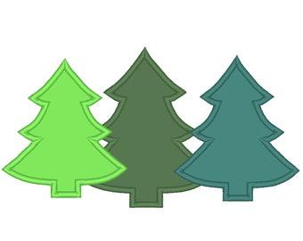 Woodlands Tree Trio Applique Triple Applique design 3 Christmas tree in a row embroidery designs 4x4 5x7 6x10