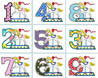 Carousel Horse rearing horse Birthday numbers set 1-9 monogram applique machine embroidery designs assorted sizes 5, 6, 7in INSTANT DOWNLOAD