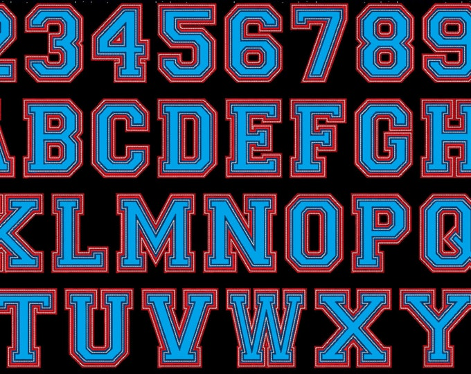 Two layers Double applique Athletic Sport High School Team Players embroidery alphabet - BX embroidery font and other embroidery formats
