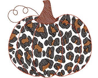 Light stitch outline Leopard print quick stitch embroidery Fall Pumpkin Autumn pumpkin leopard print pattern machine embroidery design