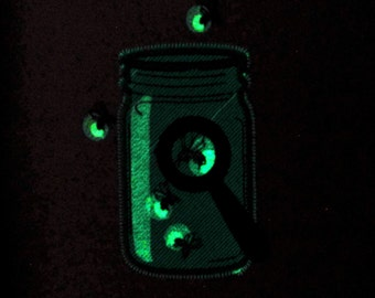 Mason jar and fireflies for boys / Glow in the dark special designed machine embroidery  5x7, 4x4