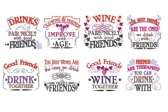 BIG SET 60 Wine And Friends Quotes Awesome Gift For Good Etsy Fascinating Quote About Great Friends And Wine