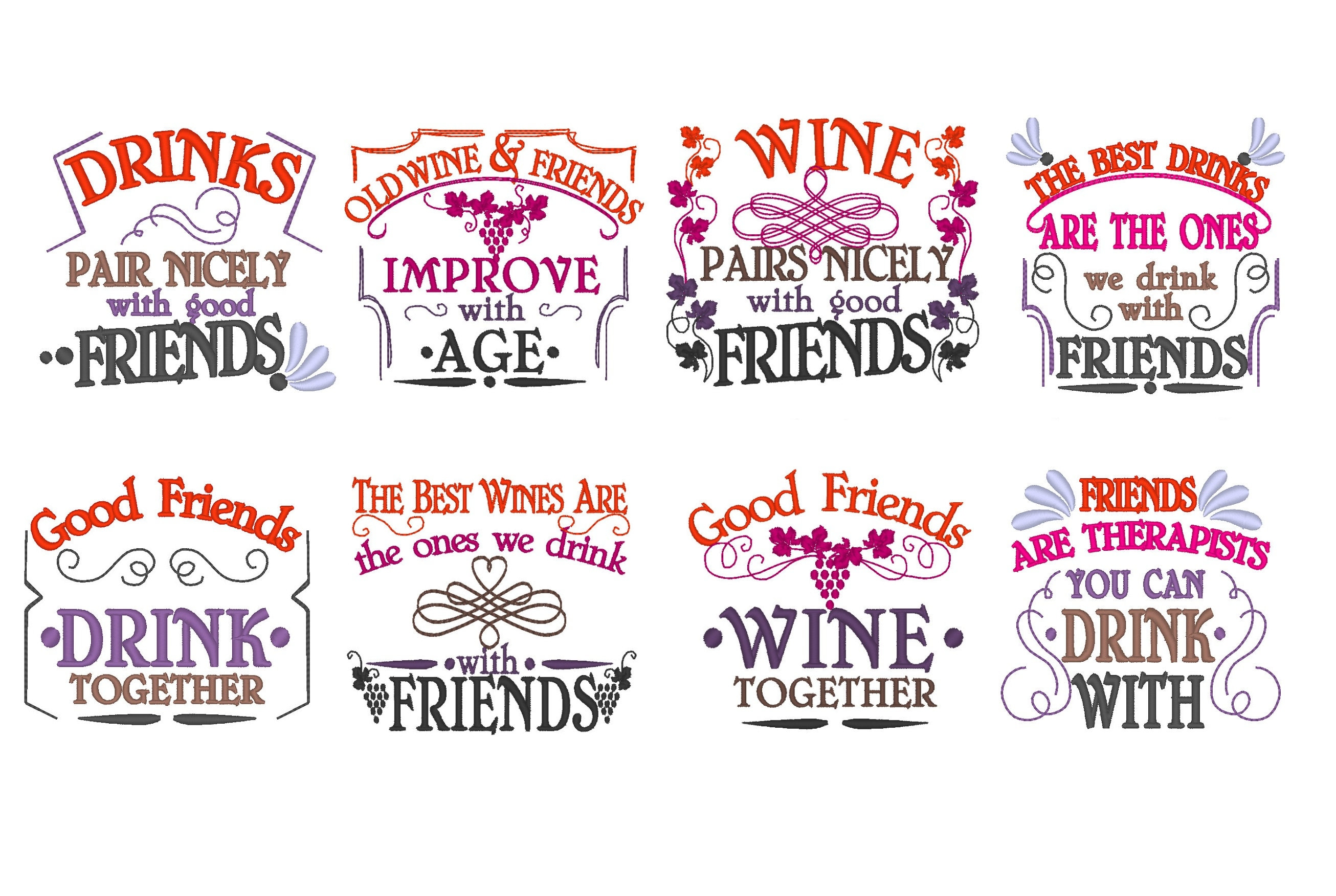 BIG SET 8 Wine and Friends quotes Awesome gift for good