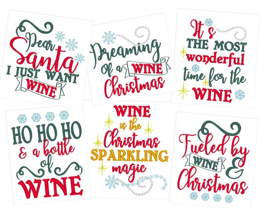 Christmas wine kitchen dish towel embroidery designs set of 6 awesome  machine embroidery DOWNLOAD Merry Christmas gift project