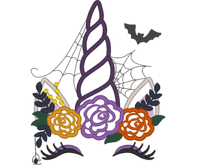 Halloween spider Unicorn with Bat, web Witch hat shabby chick roses flower crown applique machine embroidery designs Rainbow unicorn face