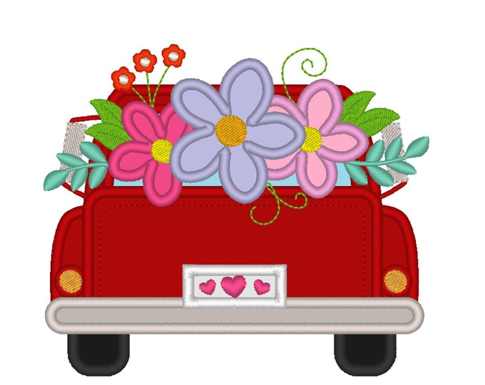 Vintage station wagon red truck back with flowers in the back, kids red truck with floral flower bouquet machine embroidery applique designs