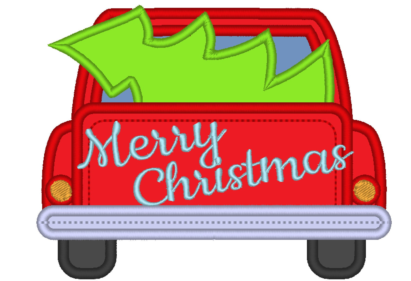 Merry Christmas Station Wagon With Christmas Tree Red Truck With Christmas Tree In The Back Vintage Machine Embroidery Applique Designs