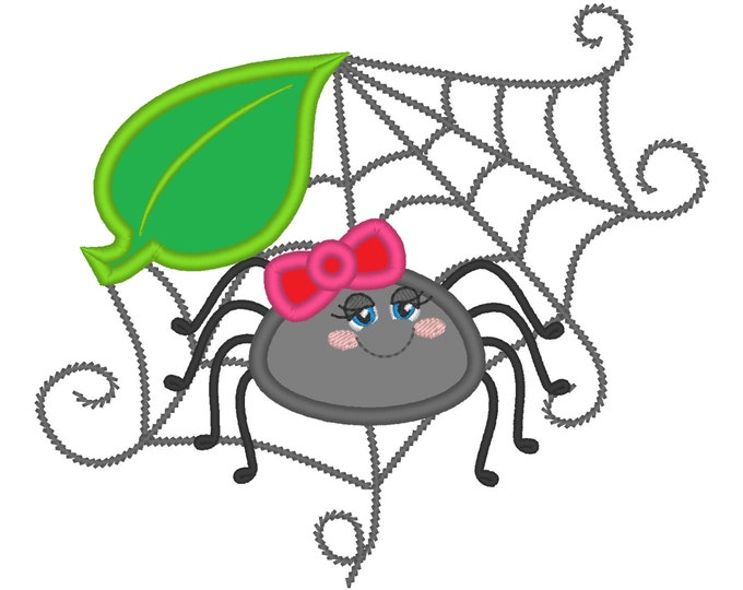 Little pretty spider girl with bow spiderweb machine embroidery applique design for hoop 4x4, 5x7 INSTANT DOWNLOAD