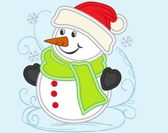 Awesome curl and sparkling snowman embroidery applique designs - 4x4, 5x7 INSTANT DOWNLOAD
