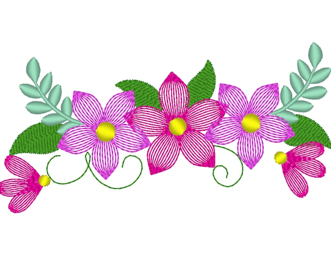 Light stitch shabby Chic Flowers Bouquet - machine embroidery applique designs for embroidery hoops 4x4 5x7 6x10 floral crown