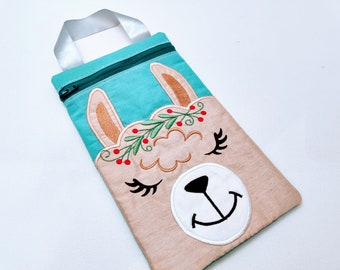 2 Llama zipper bag In the hoop with flowers and without! ITH Llama head Pouch ITH bag, zip bag machine Embroidery design In-The-Hoop
