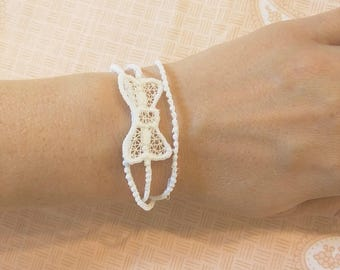 Chain and Mini bow - wrapper, bracelet and more uses - FSL, Free standing lace, micro bow free standing lace  machine embroidery designs 4x4