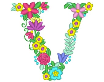 Floral letter V garden flag monogram liberty fashioned flowers flower Font machine embroidery designs monogram V only 4, 5, 6 and 8 in