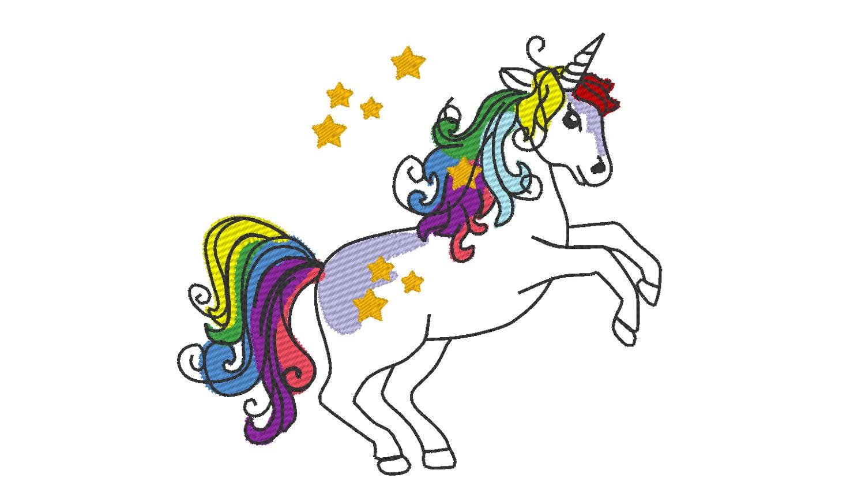 Arco iris unicornio pony bosquejo puntada contorno grano | Etsy