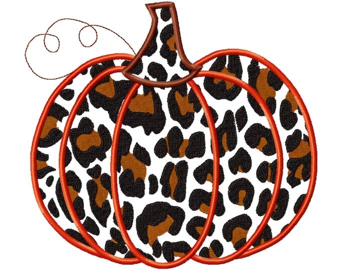 Leopard print Applique Design ~ Fall Pumpkin  Autumn pumpkin with leopard print pattern applique machine embroidery designs
