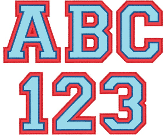 Zig Zag Double two applique Athletic Sport High School Team Players  embroidery alphabet - BX embroidery font and other embroidery formats