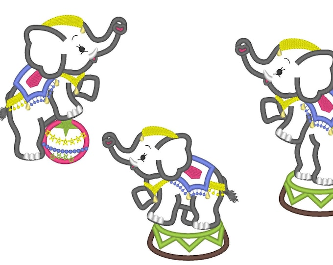 Circus Elephants - 3 types - machine embroidery applique designs SET of 3 awesome cute elephants for hoop 4x4 and 5x7 INSTANT DOWNLOAD