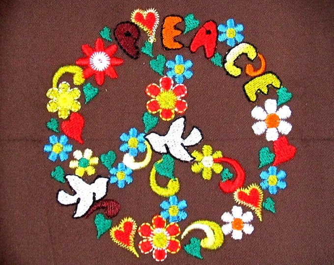 Peace sign in flowers - machine embroidery fill stitch designs - multiple sizes for hoop 4x4 and 5x7