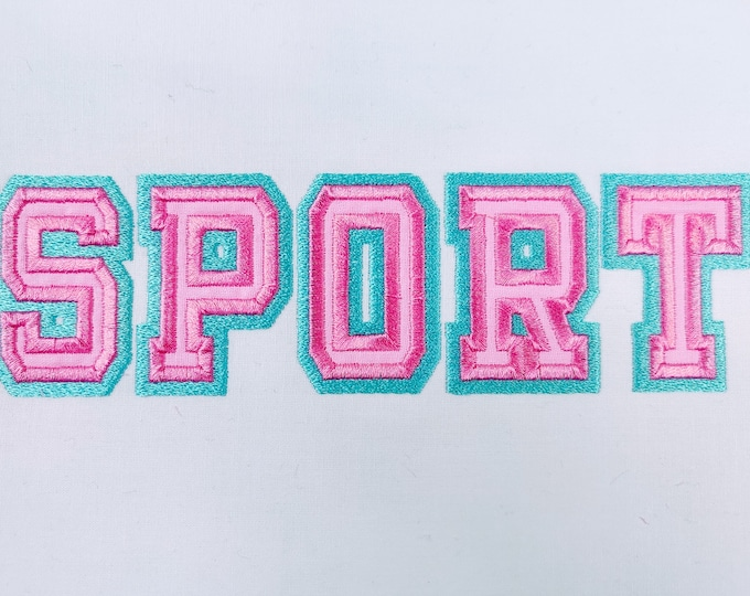 Thin double outline applique Athletic Sport High School Team Players machine embroidery alphabet BX embroidery font other embroidery formats
