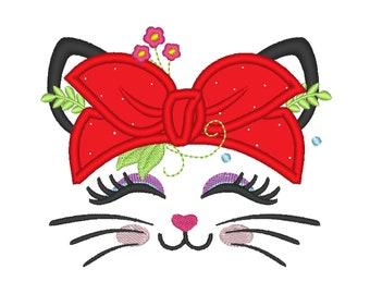 Bandanna Heifer Summer kitty head with  flowers Bandana applique machine embroidery designs Summertime cat face