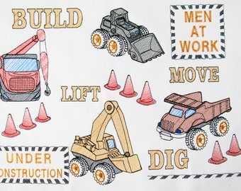 Builder equipment Cat, tractor, digger, sketch fill stitch embroidery designs  4x4, 5x7, 6x10 INSTANT DOWNLOAD
